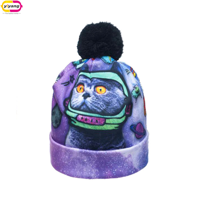 3D Digital Printing No Eaves Beanie Pompoms 20 Color Fashion Winter Knitting Hat Women And Men And Children(China (Mainland))