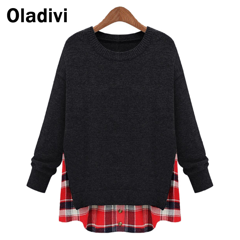 5XL Plus Size 2016 Spring New European American Women Fashion Loose Sweatshirts Faux Two Piece Tops Casual Female Clothes XXXXXL - Oladivi official store