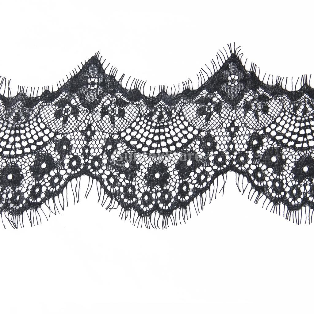 3 Yard 10cm Wide Delicate Black Antique Eyelash high quality Lace Trim DIY Sewing Applique Costume design Free Shipping(China (Mainland))