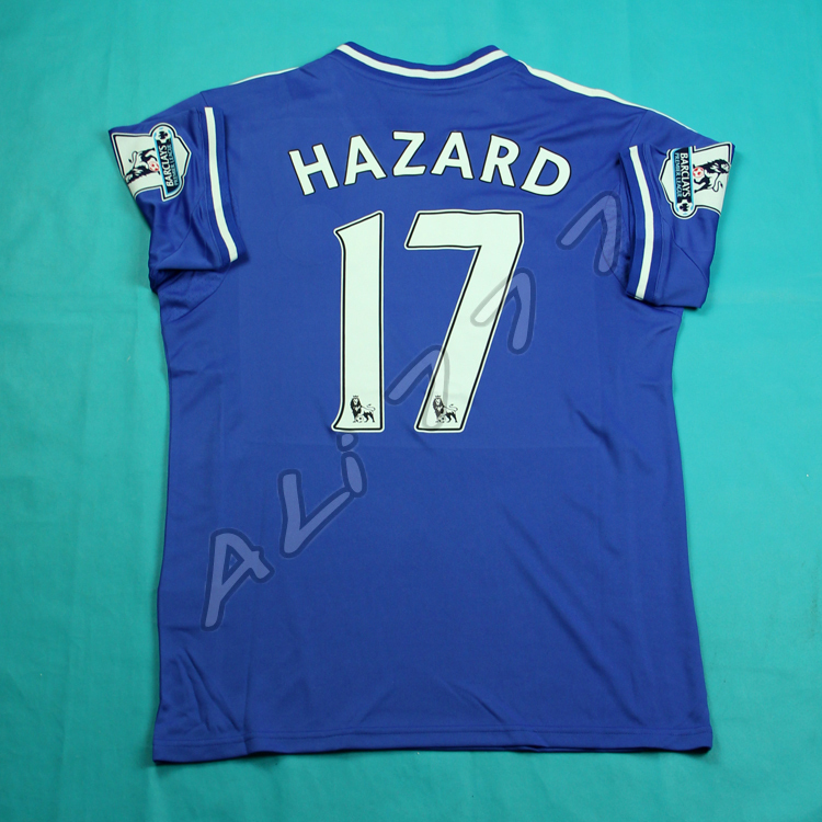Cheap Football Shirts Thailand Blue Chelsea Jersey 2014 HAZARD # 17 Wholesale 8 ps Free Shipping by EMS Super Quality @ dry Fit(China (Mainland))