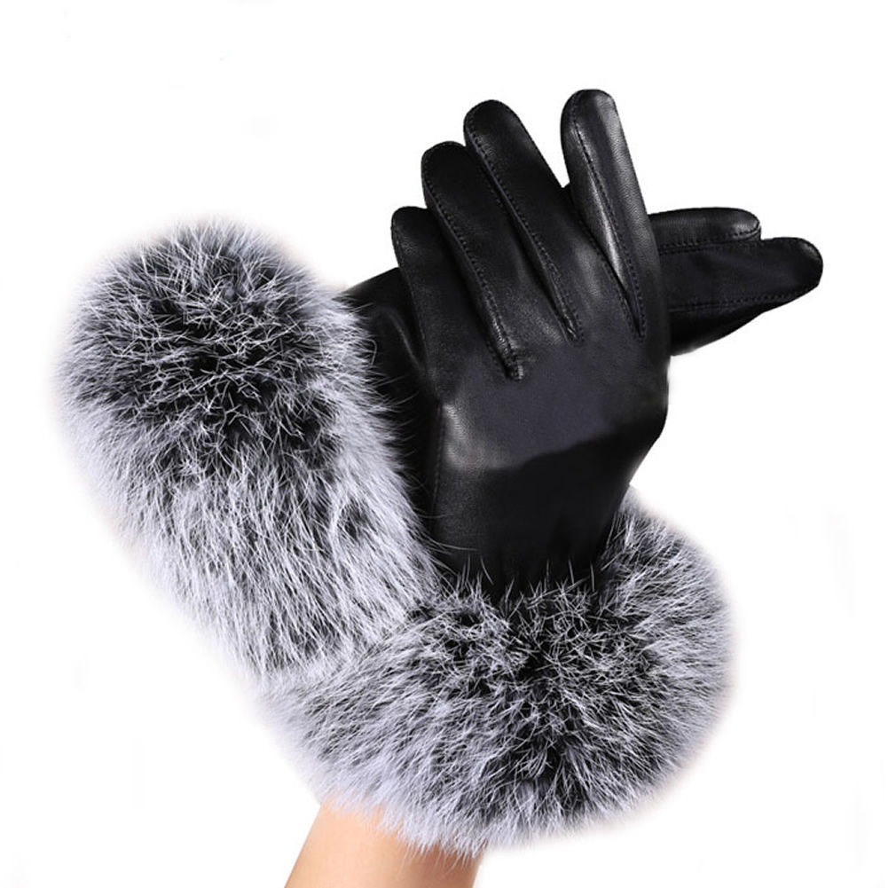 Black leather gloves with coloured fingers - 1pair 6 Colors Winter Autumn Charm New Girls Fashion Women Black Pu Gloves Soft Imitation Short