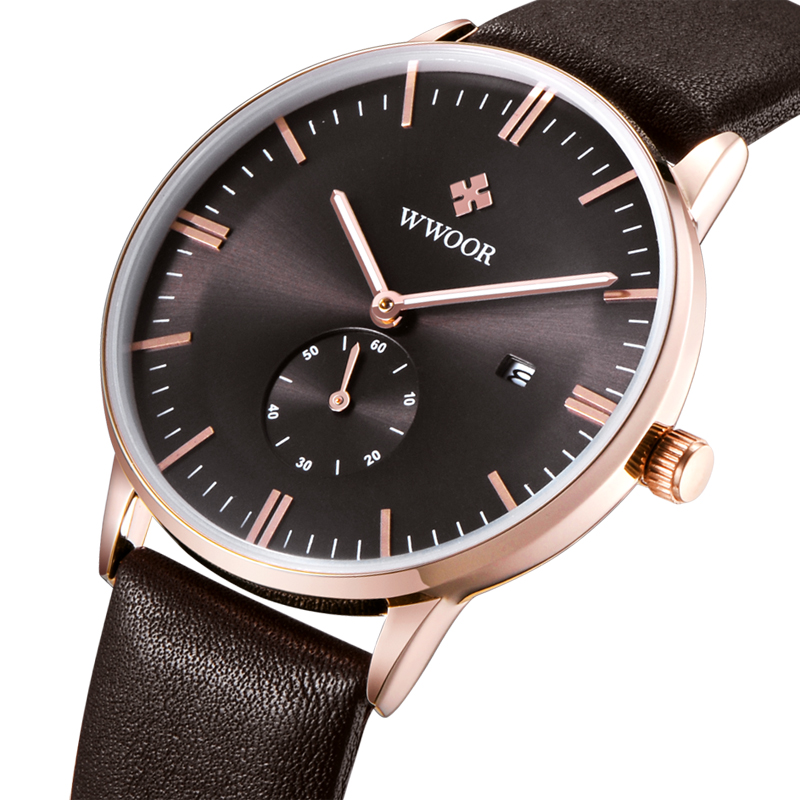 WWOOR Luxury Brand Fashion Faux Leather Blue Ray Glass Men Watch 2015 Quartz Analog Business Wrist Watches Men montre homme<br><br>Aliexpress