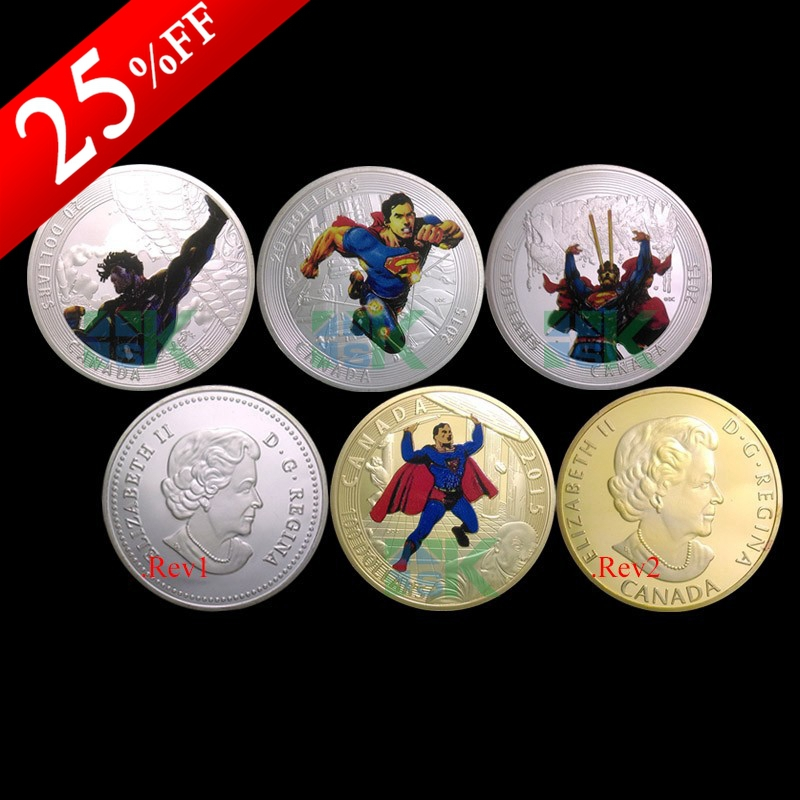 2015 New Design,4pcs/lot The first release Superman Return Souvenir Gold/Silver Plated Canada Replica Coin(China (Mainland))