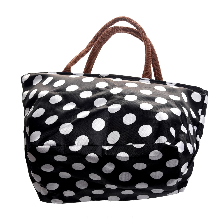 JFBL Hot sale Waterproof Picnic Lunch Bag Case Tote Reusable Bags Travel Zipper Organizer Box (Polka Dot Black&White)(China (Mainland))