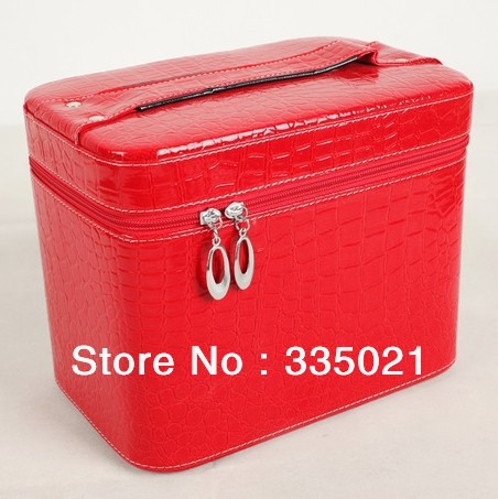 Hot Cute Double Zipper Dot leather Cosmetic Box Makeup Bag Coin Pouch Make Up Storage Organizer Case Hand Clutch freeshipping(China (Mainland))