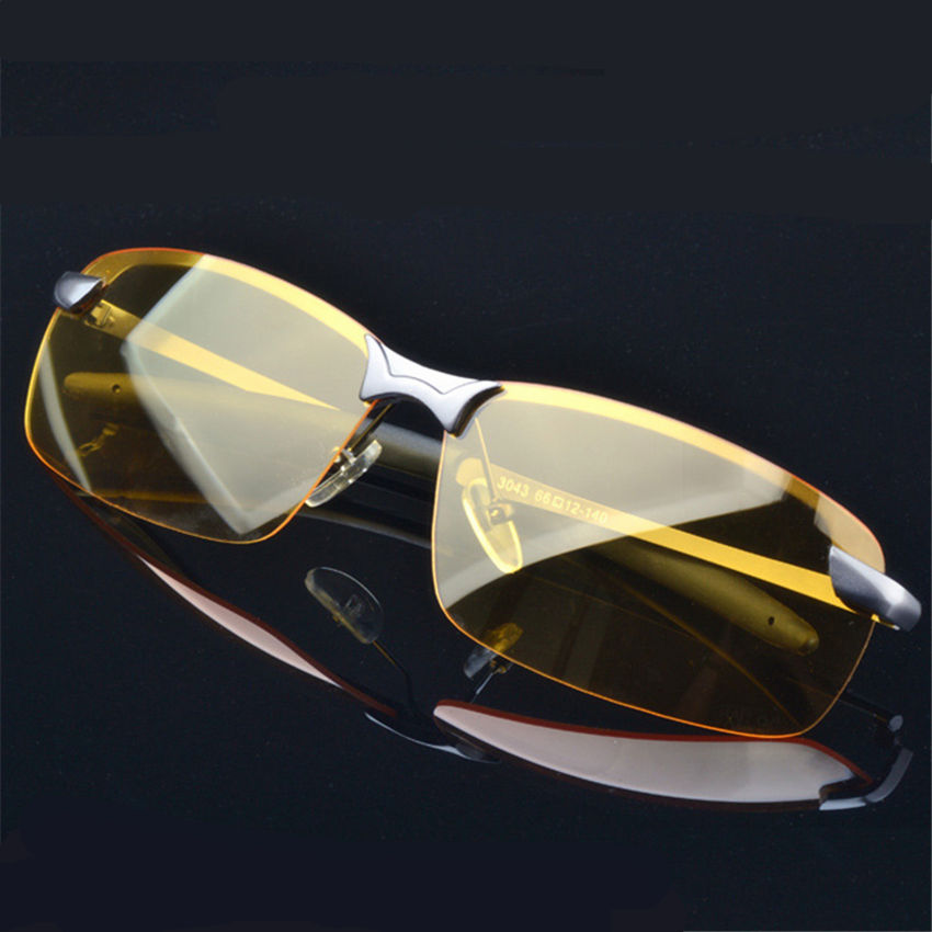Yellow Night Vision Goggles Alloy Frame Polarized Sunglasses Men's Driver Sunglass Sport Men Glasses Driving Sun Glasses For Men(China (Mainland))