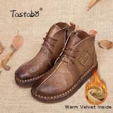 Tastabo Schuhe Frauen Winter Stiefel Handmade Stiefeletten Flache Stiefel Aus Echtem Leder Schuhe Frauen Schuhe Plus Größe 42 43 Warme stiefel(China)