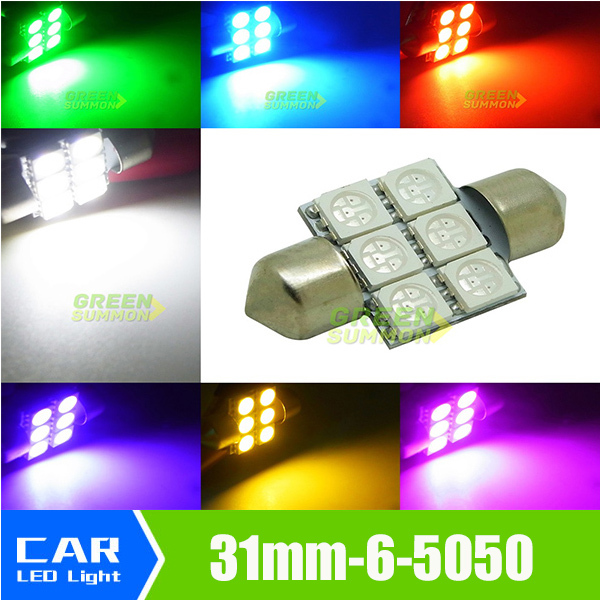 """NEW 1.25"""" 31mm 6-SMD 5050 DE3175 DE3022 LED Bulbs For Car Interior light White/Warm/Blue/Green/Purple/Iceblue/Yellow/PINK(China (Mainland))"""