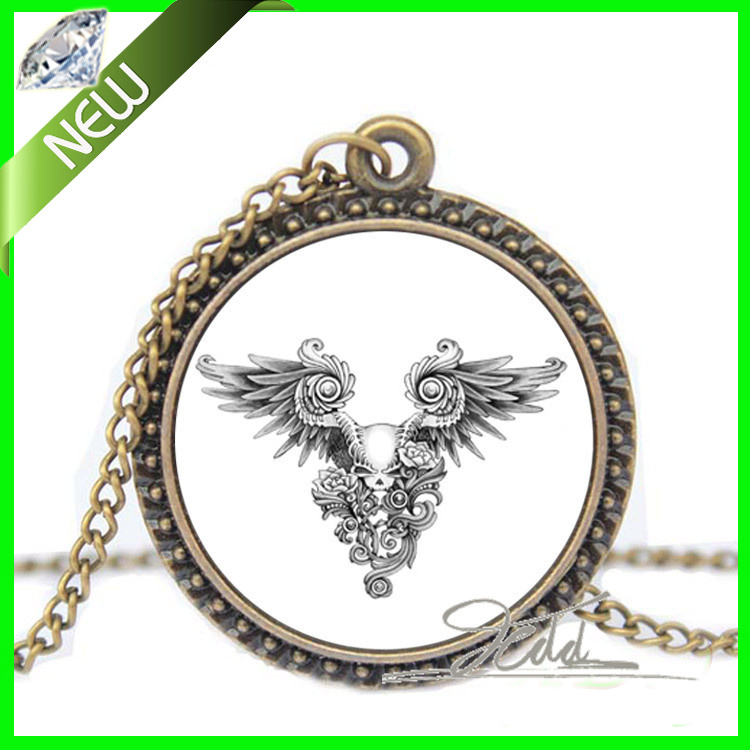 Hot Fashion Unisex Vintage tattoo choker Black Skeleton Wings Gothic Punk Skull Charms Picture Glass Art Dome Pendant Necklaces(China (Mainland))