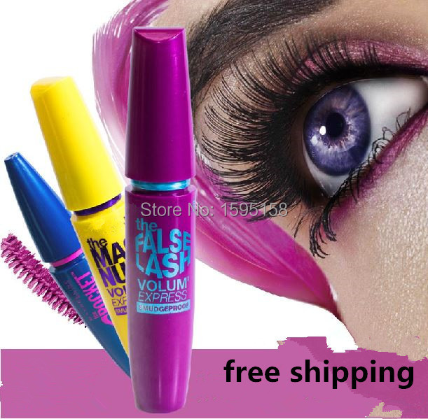 3pcs lot blue purple yellow Colossal Mascara Volume Express Makeup Curling They re real Mascara brand