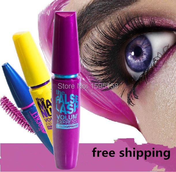 3pcs/lot blue purple yellow Colossal Mascara Volume Express Makeup Curling They're real Mascara brand Waterproof Eyelashes(China (Mainland))