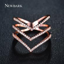 NEWBARK Бренд Большие Женщины Кольца Micro CZ Три V Форма кольцо Из Розового Золота Цвета И Серебряный Цвет Ювелирные Изделия для женщины(China (Mainland))