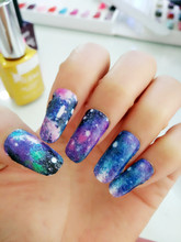 Y5219 Manicure 3D Decals Auto Adhesive Nail Art Stickers Dark Purple Galaxy Cool Figure Design Nail Wraps Stickers Decal(China (Mainland))
