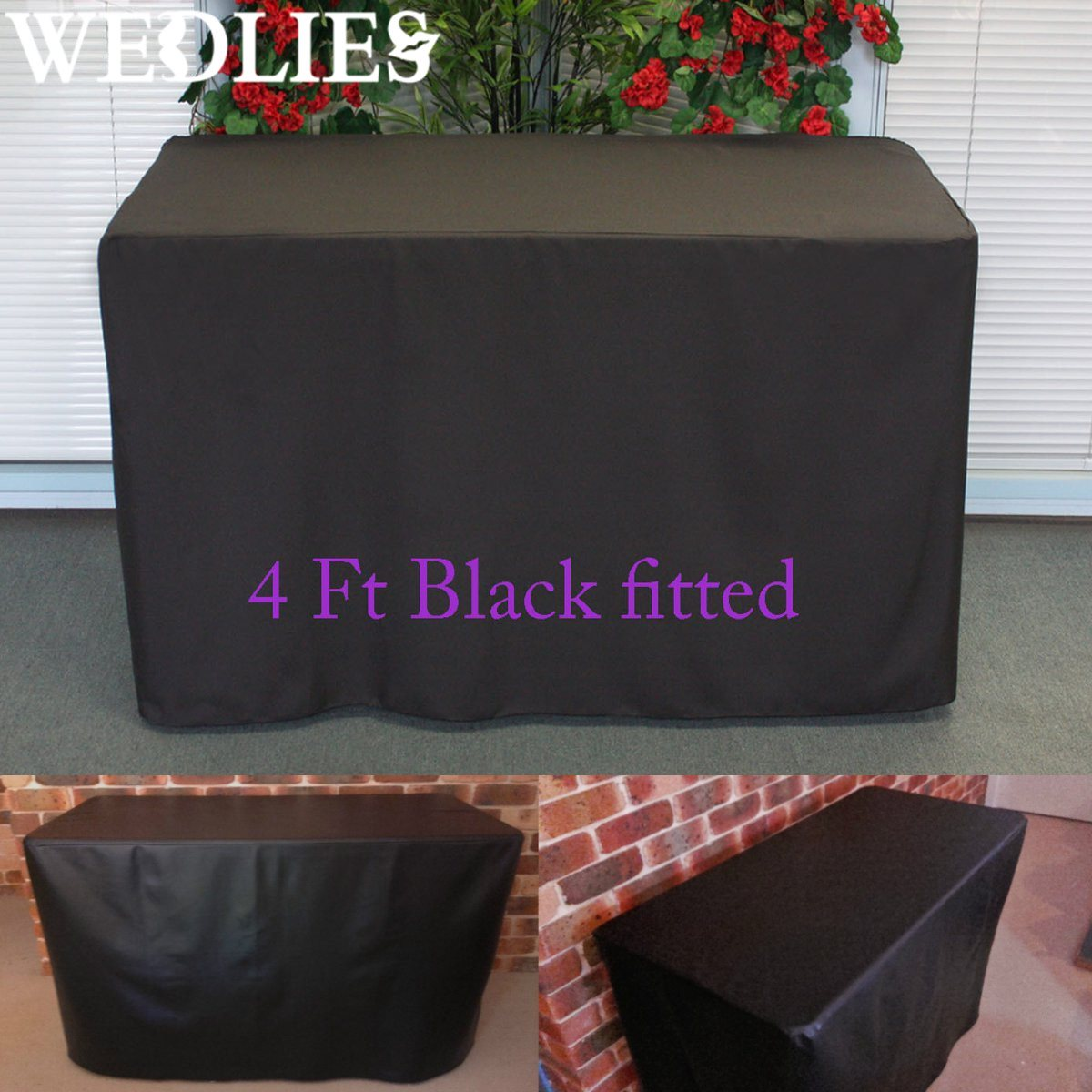 4FT Fitted Black Trestle Table Cover Polyester Folding Function Market Fair Wedding Party Outdoor Furniture Cover Table Cloth(China (Mainland))