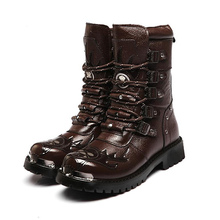 2015 PUNK Rock COOL MEN'S High Ankle Fashion Motorcycle Army Boot Patent Leather mens boots EUO39-44