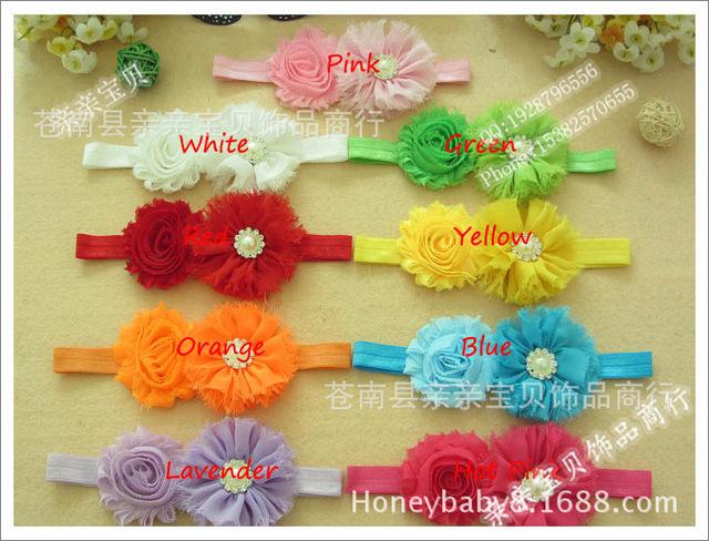 free shipping Pure Chiffon + candy color chiffon diamond center children headdress flower with elastic headband girl hairwear