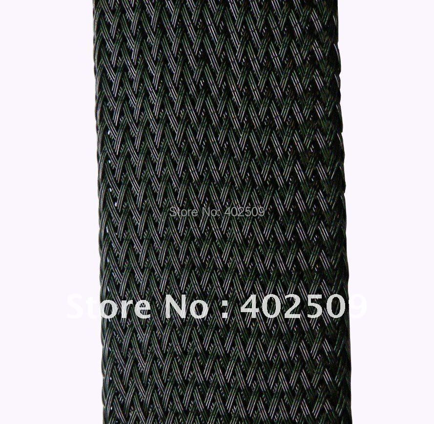 Wholesale 50mm 50M/Lot Black high quality PET Black expandable sleeving for cable,wiring,tube hose protection(China (Mainland))