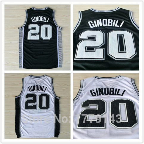 San Antonio #20 Manu Ginobili Jersey, New Material Rev 30 Sports Jersey, Black White Cheap Basketball Jerseys S-XXL(China (Mainland))