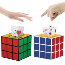 1Pc Cute Practical Plactic Durable Magic Cube Tissue Case Multi color Paper Box(China (Mainland))