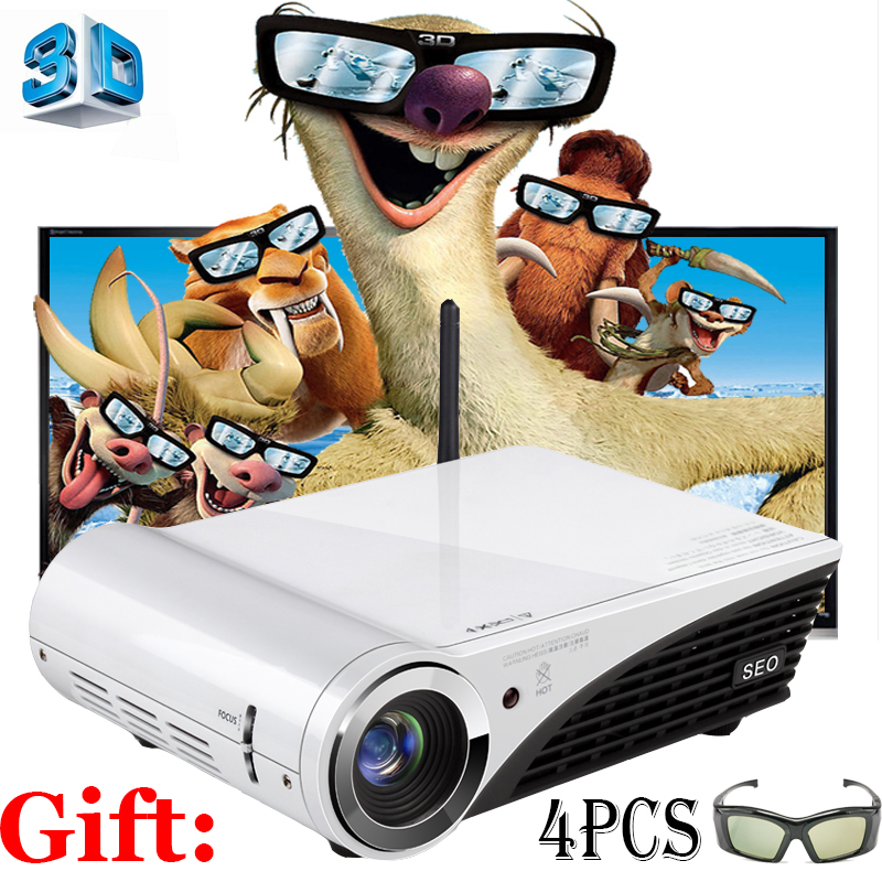 New System Business 4K DLP 7500 Lumens Home Theater Projector Windows 10 OS Full HD 1080P Active shutter 3D WiFi Projector(China (Mainland))