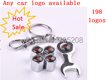 Free ship/Drop Ship Car Wheel Tire Valve Caps with Mini Wrench & Keychain with car logo with retail package(China (Mainland))