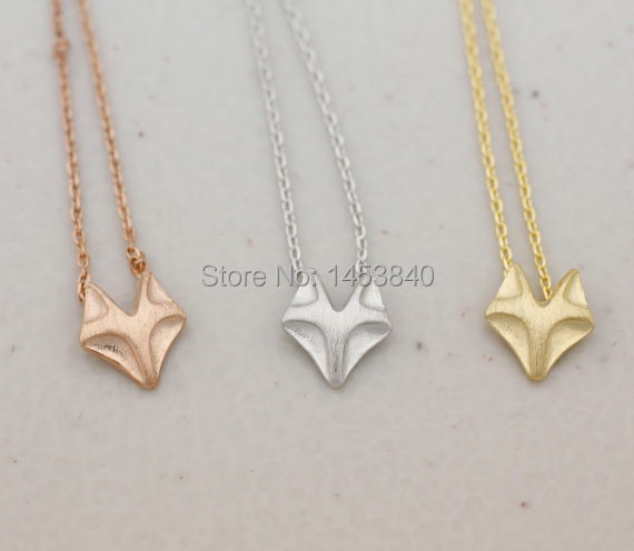 Wholesale Fox necklace, fox face necklace, Fox Charm Pendant Necklace - Available color as listed ( Gold, Silver, Rose Gold )<br><br>Aliexpress