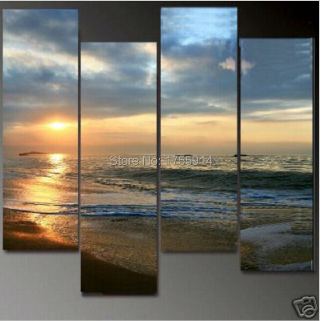 Huge 4 Panel Sunset Sea Beach Ocean Wave Landscape Oil Painting on Canvas 100% Handprinted Contemporary Art, Modern Wall Decor(China (Mainland))