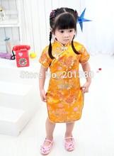 2015 New Year Floral Girls Dress one-piece dresses Chinese Style chi-pao qipao cheongsam gift(China (Mainland))