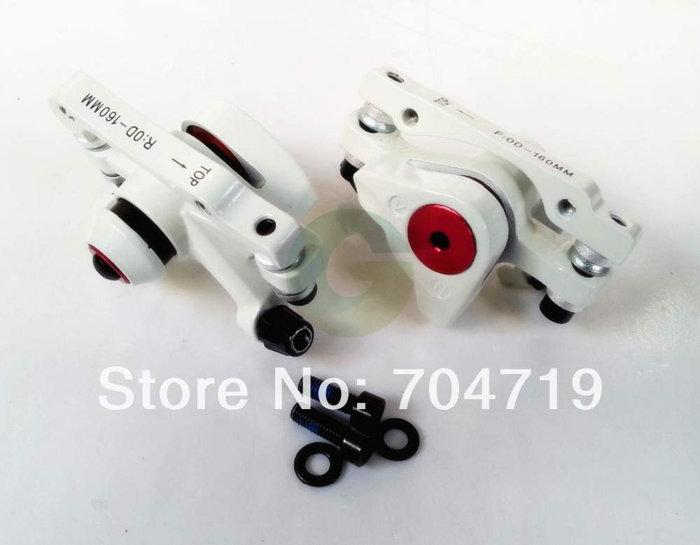 2x Cable Disc Brake Front & Rear Caliper White Forged Aluminum(China (Mainland))