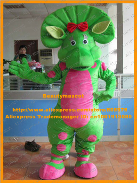 Fancy Green Baby Bop Dinosaur Mascot Costume Mascotte Barney & Friends Dino With Small Red Bowknot Yellow Ears No.6593 Free Ship(China (Mainland))