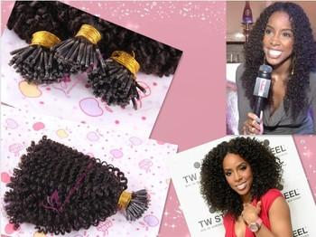 100 keratin i tip brazilian human hair extensions kinky curl, 1g/strand , 100 strands/lot
