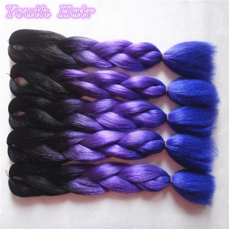 5-10pcFree shipping ombre braiding hair three toned colour Kanekalon jumbo braid synthetic hair extension Black+Purple+Blue Hair<br><br>Aliexpress