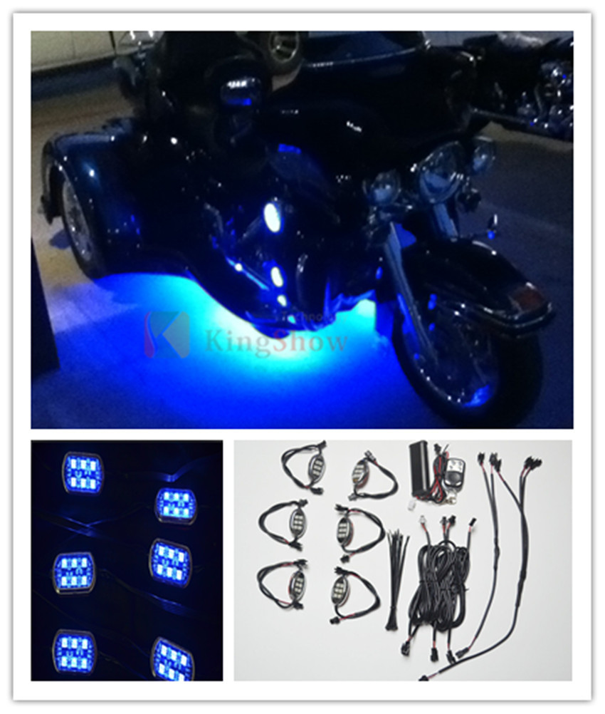 Blue Remote Control 6 Pod Motorcycle 36 Led Underglow Neon Accent Bike Lights(China (Mainland))