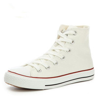 New Male Ladies Lace Up Flat Heel Shoes Women And Men Fashion Round Toe Solid Color High Top Platform  Canvas Shoes