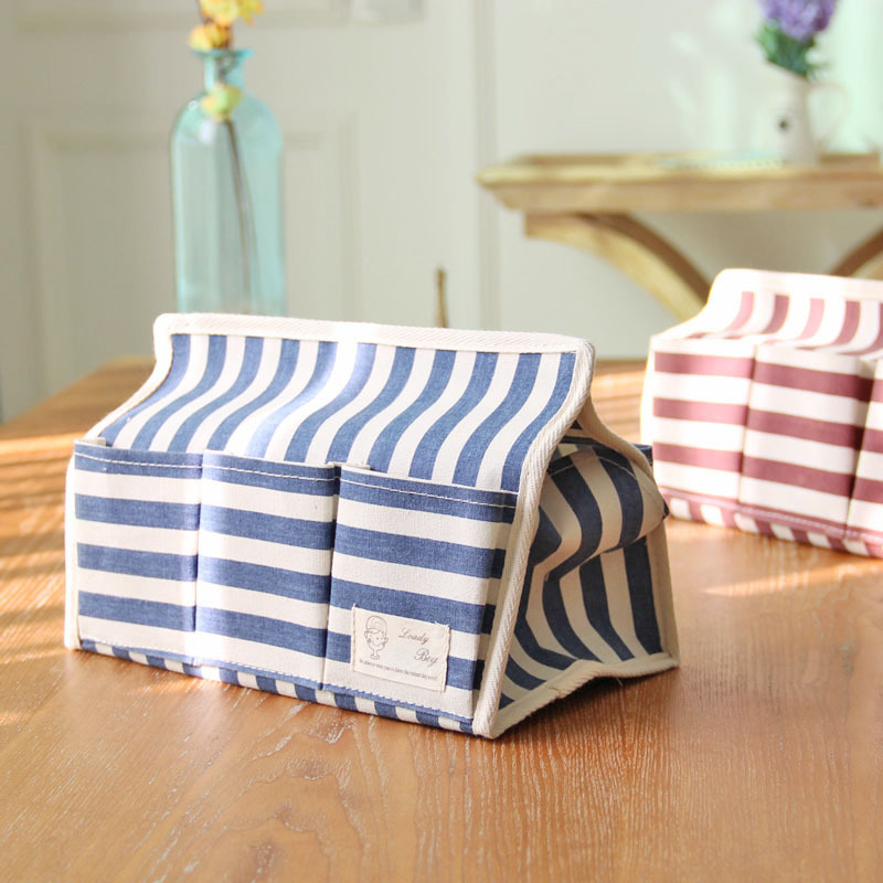 Zakka Cotton and Linen Cloth Art Multi-functional Waterproof Boxes Tissue Box 6 Pocket Stripe Creative Paper Bags(China (Mainland))
