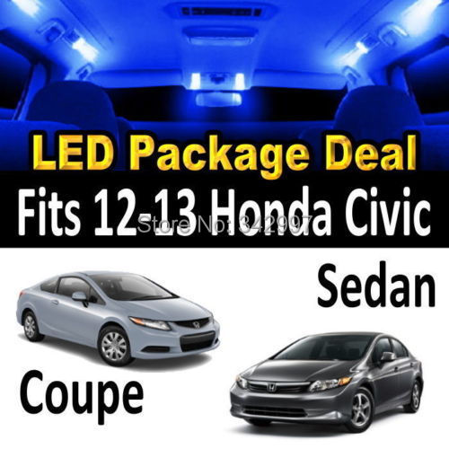free shipping 4x bright blue 8000k led lights interior package deal for 2012 2013 honda
