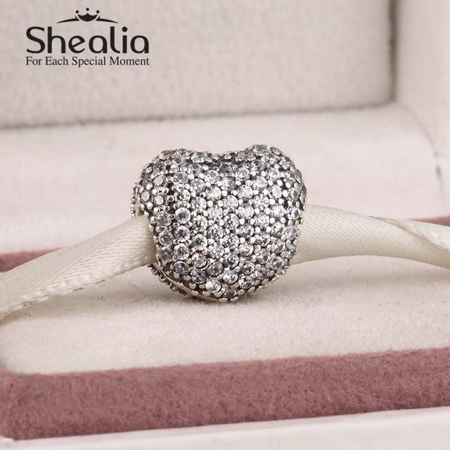2015 новый подлинный стерлингового серебра 925 вымощают игристое циркон шармов сердца для женщин подходит известный бренд diy браслеты SH0589