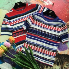 2016 Hot Classic Casual Computer Knitted Short Sleeve Pullover Navy Blue Stripe Standard Sweater Tank Women Lady D667