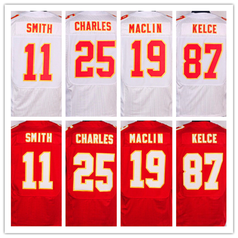 Best quality jersey,Men's 11 Alex Smith 19 Jeremy Maclin 25 Jamaal Charles 87 Travis Kelce elite jersey,White and Red,Size 40-56(China (Mainland))