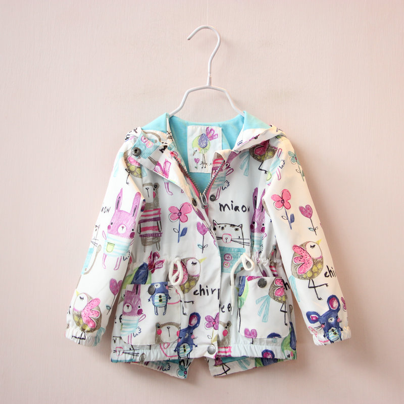 2016 spring new children s wear girls trench coat cartoon printing children s recreational coat zipper