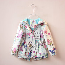 2016 spring new children's wear girls trench coat cartoon printing children's recreational coat zipper unlined upper garment