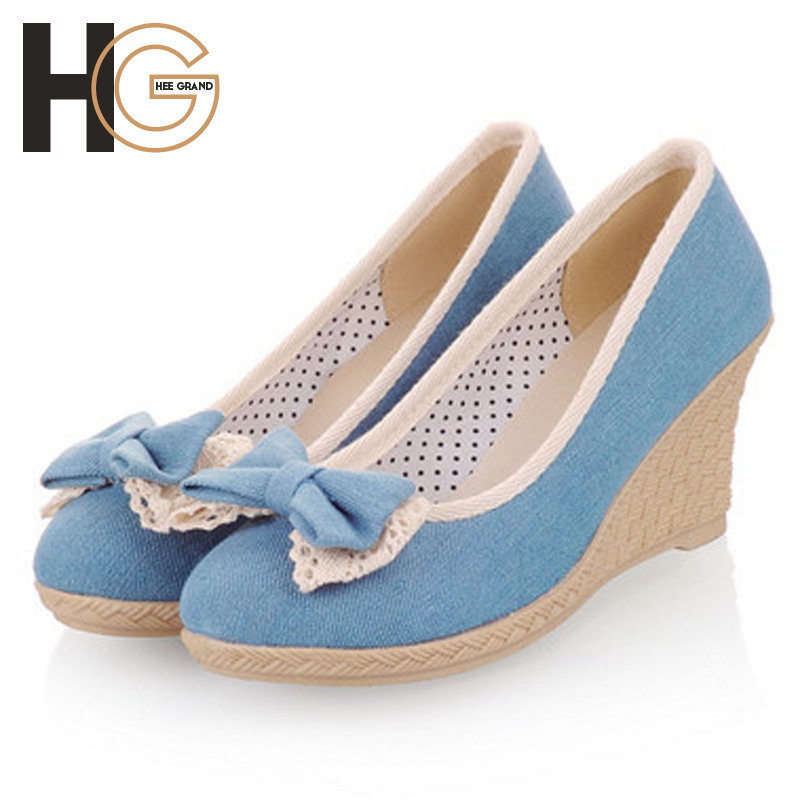 2014 new fashion women sweet denim bow three colors in spring and autumn Wedges,XWD384<br><br>Aliexpress