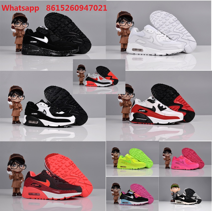 Free shipping new 2016 little kids air MaX 90 white black red green boots for sale with original box boys girls size Eur28 to 35(China (Mainland))