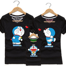 2016 New Family Matching Outfits Family Look Cotton T-shirt Doraemon printing For Summer 20Colors Dad&Mon&Sun&Daughter QZ022