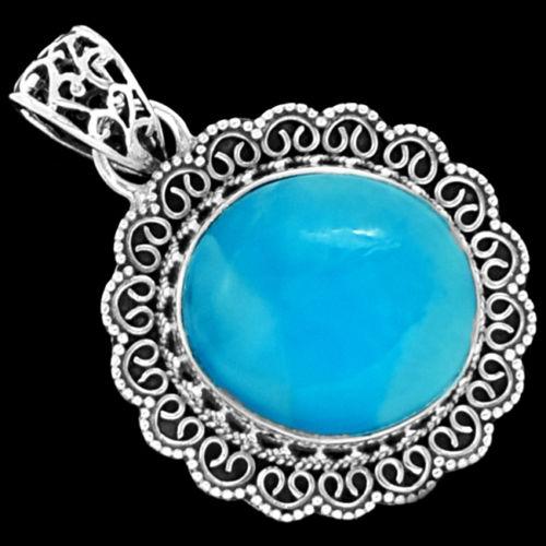 Здесь можно купить  Genuine Larimar Pendant 100 925 Sterling Silver Jewellery 39mm 7 8G AP0602  Ювелирные изделия и часы