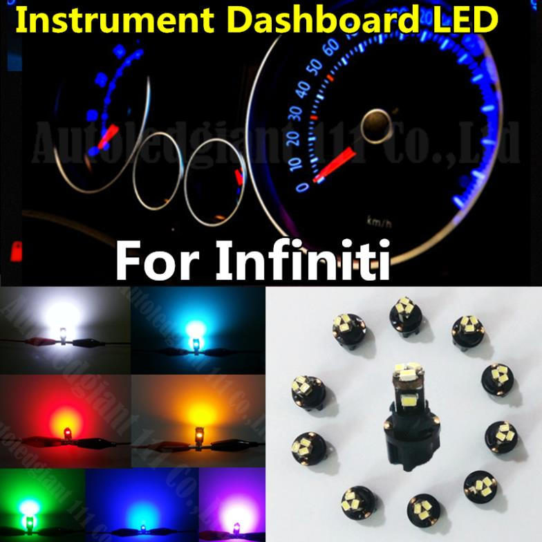10x White Green Blue Red Yellow Ice Blue Dashboard Light T5 LED With Socket Instrument Cluster Panel Light Bulb For Infiniti(China (Mainland))
