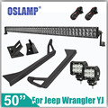 Oslamp For Jeep Wrangler YJ Remodel 480W 50 CREE Chips Driving Led Light Bar Mounting Base