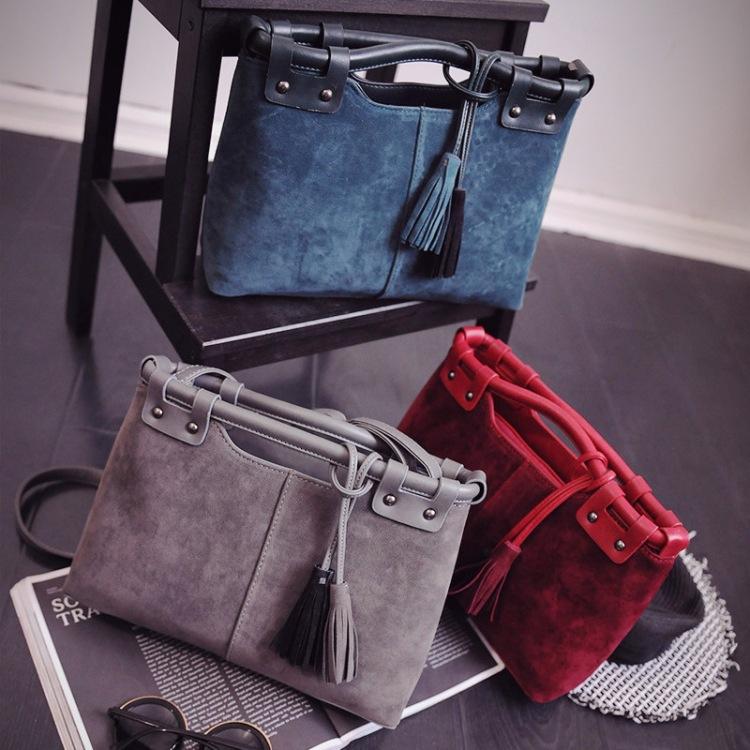Women Bag Fashion Lady Style Nubuck PU Leather Solid Color Ttassel Handbag Messenger Bag//Z D-623 - JamesZhang store
