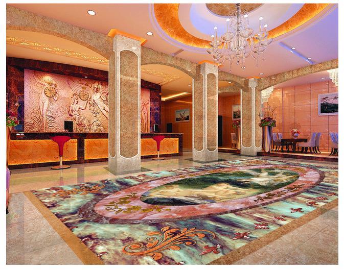 Marble Floor Mural : Custom photo floor wallpaper d stereoscopic angel marble