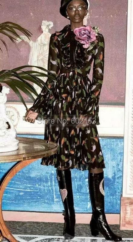 2016 Women Vintage Dresses Animal Pattern Silm Silk  Long Dress Vestidos With Ruffled